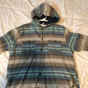 striped hooded button down shirt